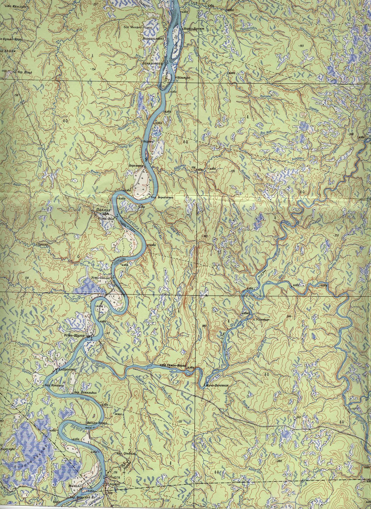 Куда течет река печора схема
